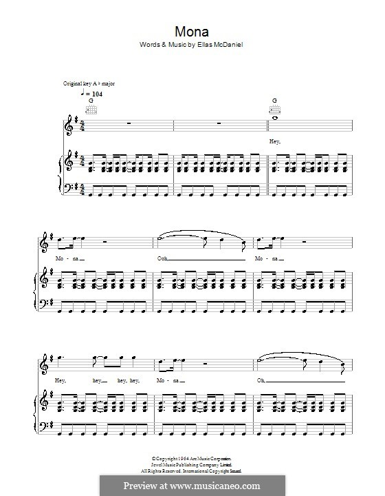Mona: For voice and piano (or guitar) by Ellas McDaniel