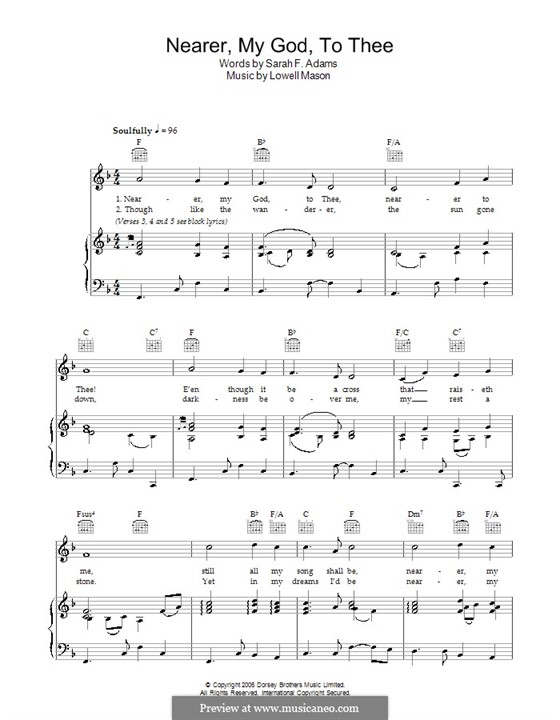 Nearer, My God, To Thee (Printable scores): For voice and piano (or guitar) by Lowell Mason
