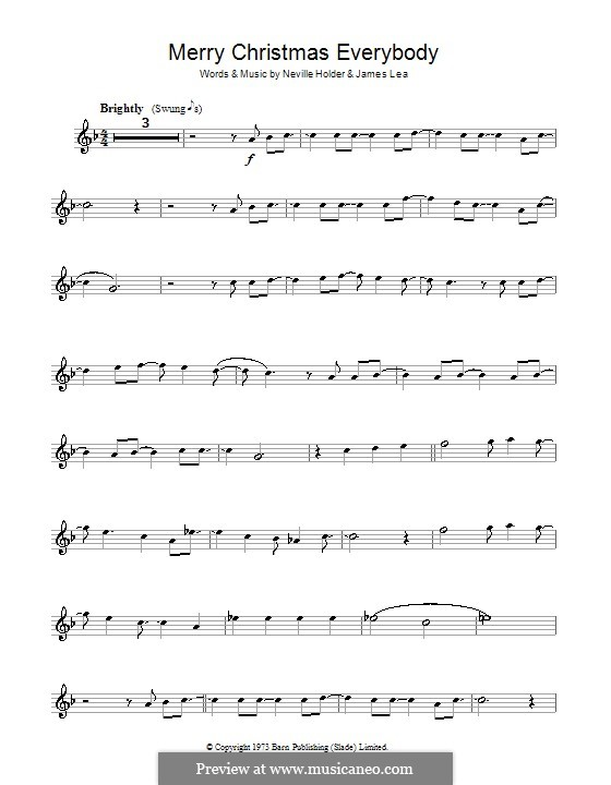 Merry Xmas Everybody (Slade): For violin by James Lea, Noddy Holder