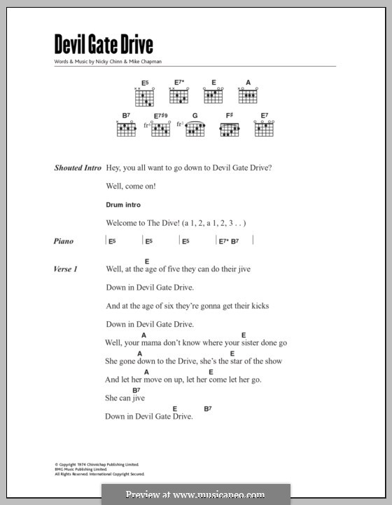 Devil Gate Drive (Suzi Quatro): Lyrics and chords by Mike Chapman, Nicky Chinn