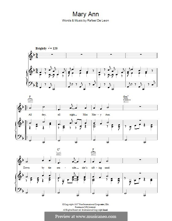 Mary Ann: For voice and piano (or guitar) by Rafael De Leon