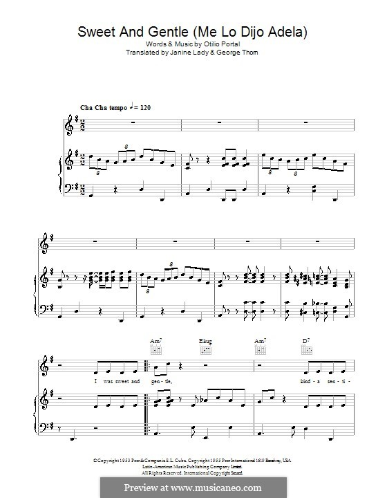 Sweet and Gentle (Me lo Dijo Adela): For voice and piano (or guitar) by Georgia Gibbs