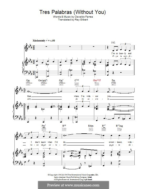 Tres Palabras Without You For Voice And Piano Or Guitar By: Sabor A Mi Sheet Music At Alzheimers-prions.com