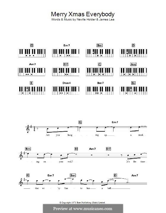 Merry Xmas Everybody (Slade): For keyboard by James Lea, Noddy Holder