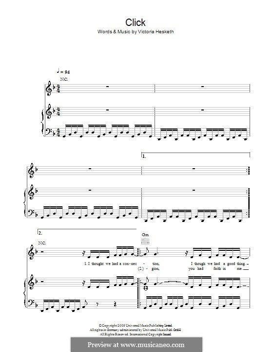 Click (Little Boots): For voice and piano (or guitar) by Victoria Hesketh
