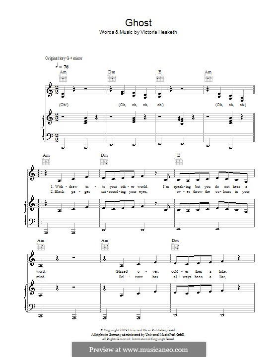 Ghost (Little Boots): For voice and piano (or guitar) by Victoria Hesketh