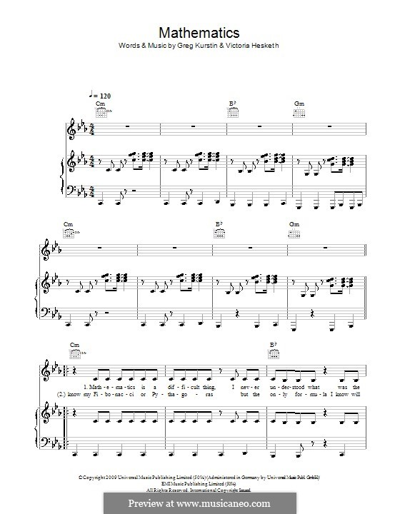 Mathematics (Little Boots): For voice and piano (or guitar) by Greg Kurstin, Victoria Hesketh