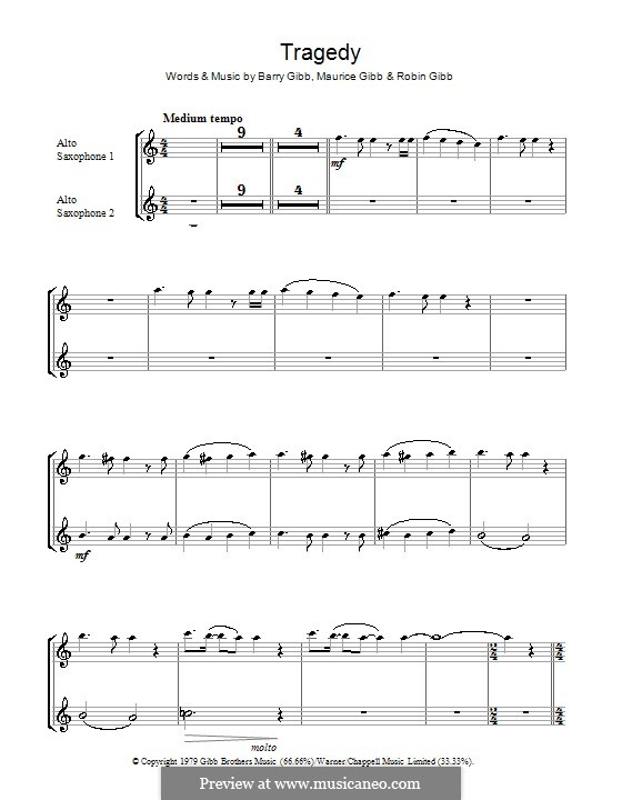 Tragedy (The Bee Gees): For two alto saxophones by Barry Gibb, Maurice Gibb, Robin Gibb