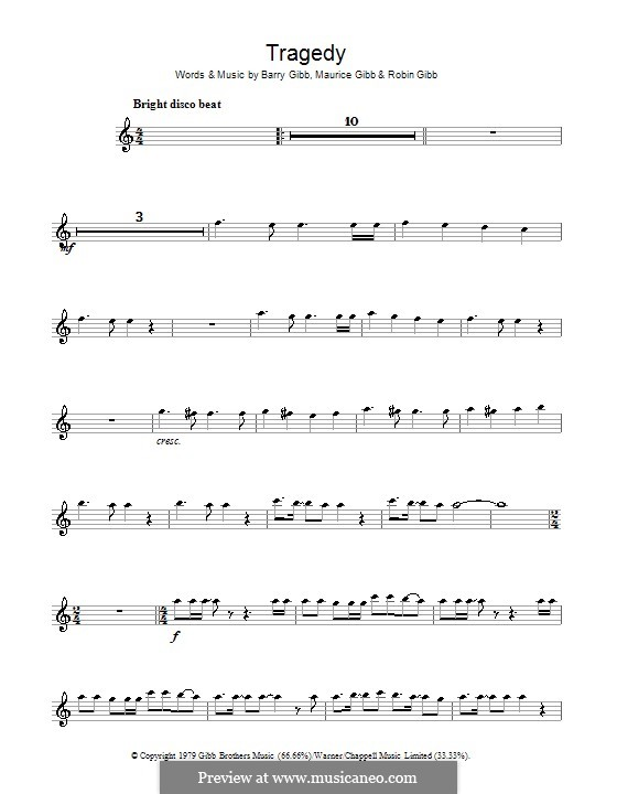 Tragedy (The Bee Gees): For alto saxophone by Barry Gibb, Maurice Gibb, Robin Gibb