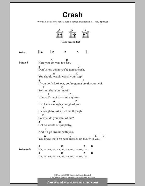 Crash (The Primitives): Lyrics and chords by Paul Court, Stephen Dullaghan, Tracy Spencer