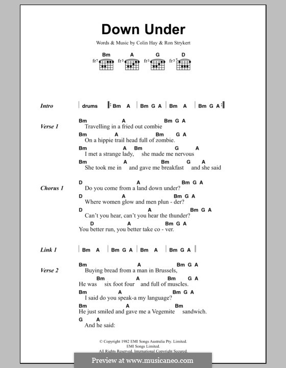Down Under (Men at Work): Lyrics and chords by Colin Hay, Ron Strykert