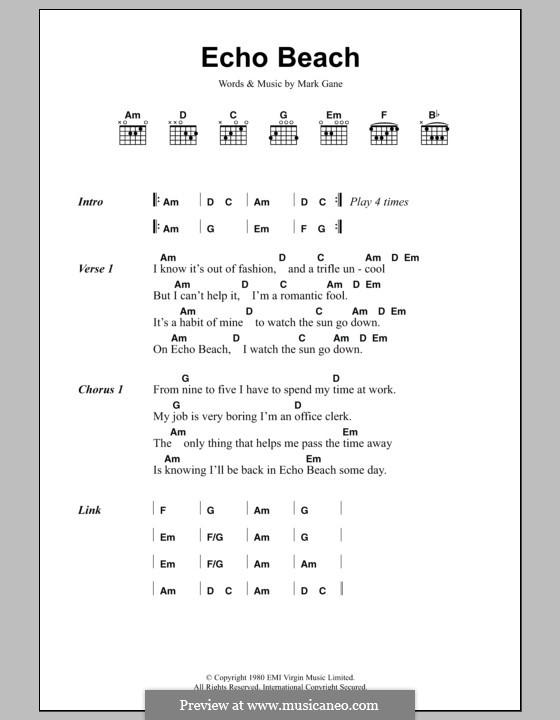Echo Beach (Martha & The Muffins): Lyrics and chords by Mark Gane