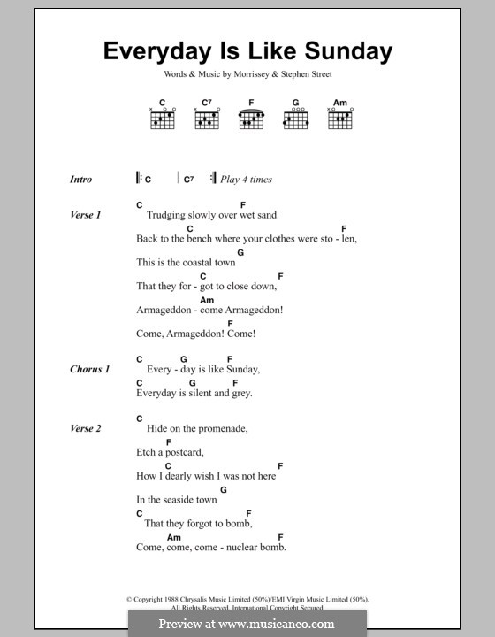 Everyday Is Like Sunday: Lyrics and chords by Morrissey, Stephen Street