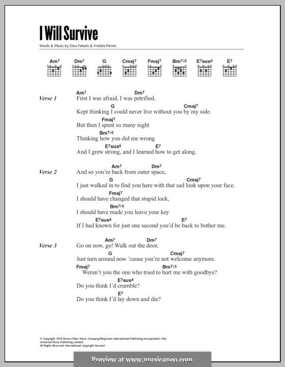I Will Survive (Gloria Gaynor): Lyrics and chords by Dino Fekaris, Freddie Perren