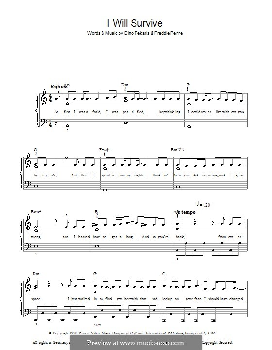 I Will Survive (Gloria Gaynor): For easy piano by Dino Fekaris, Freddie Perren