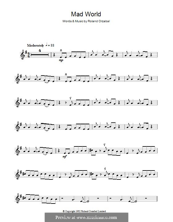 Mad World (Gary Jules & Michael Andrews): For violin by Roland Orzabal