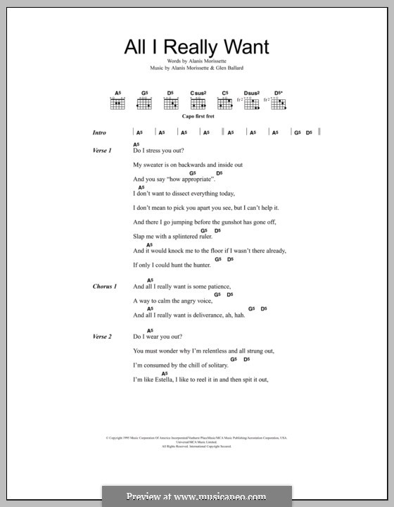 Alanis Morissette - All I Really Want (Chords)