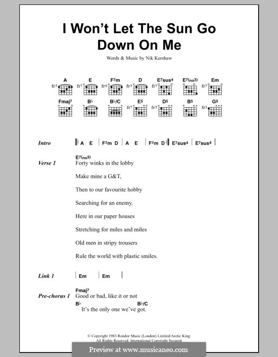 I Won't Let the Sun Go Down on Me: Lyrics and chords by Nik Kershaw