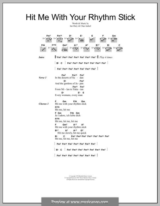 Hit Me with Your Rhythm Stick (Ian Dury & The Blockheads): Lyrics and chords by Chas Jankel, Ian Dury