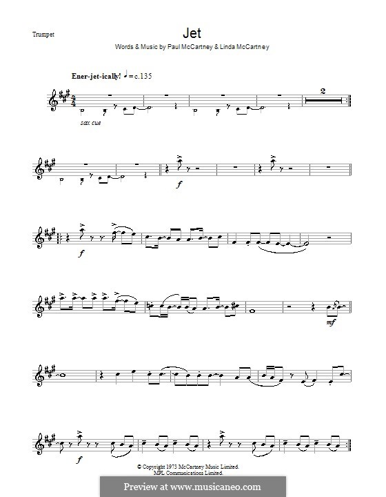 Jet (Wings): For trumpet by Linda McCartney, Paul McCartney