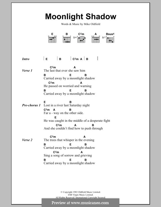 Moonlight Shadow: Lyrics and chords by Mike Oldfield