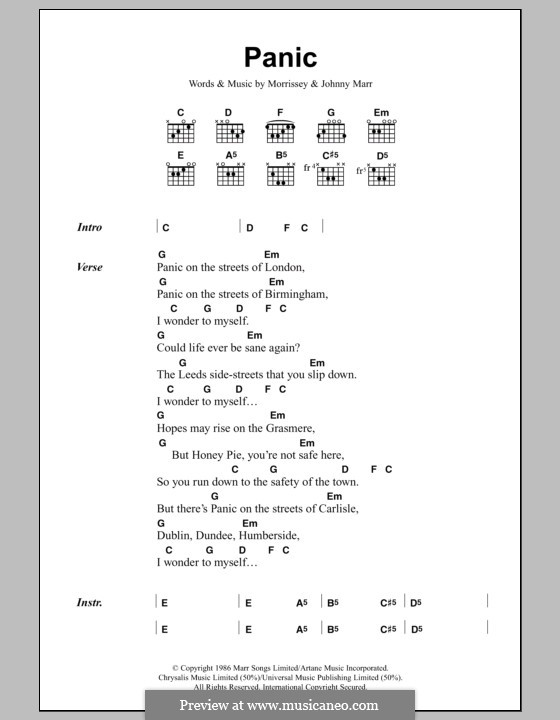Panic (The Smiths): Lyrics and chords by Morrissey, Johnny Marr