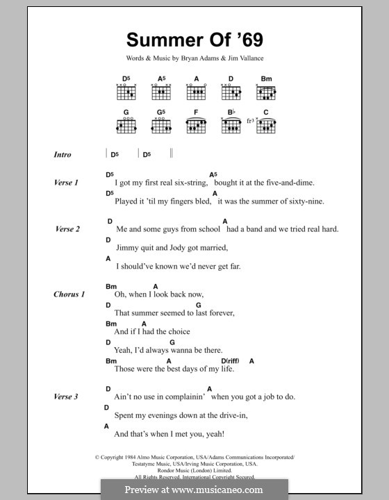 Summer of \'69 by B. Adams, J. Vallance - sheet music on MusicaNeo