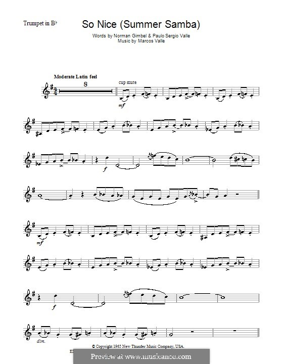 So Nice (Summer Samba): For trumpet by Marcos Valle, Paulo Sergio Valle