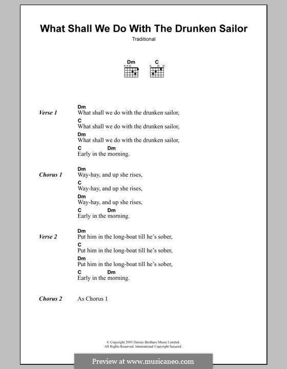 What Shall We Do with the Drunken Sailor: Lyrics and chords by folklore