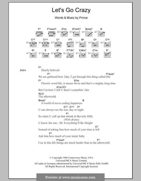 Let\'s Go Crazy by Prince - sheet music on MusicaNeo