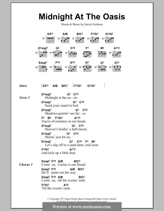 Midnight at the Oasis (Maria Muldaur): Lyrics and chords by David Nichtern