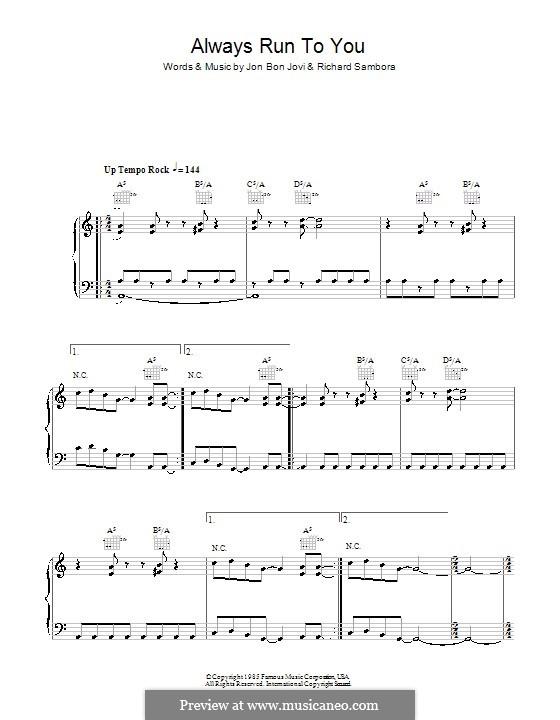 Always Run to You (Bon Jovi): For voice and piano (or guitar) by Jon Bon Jovi, Richie Sambora
