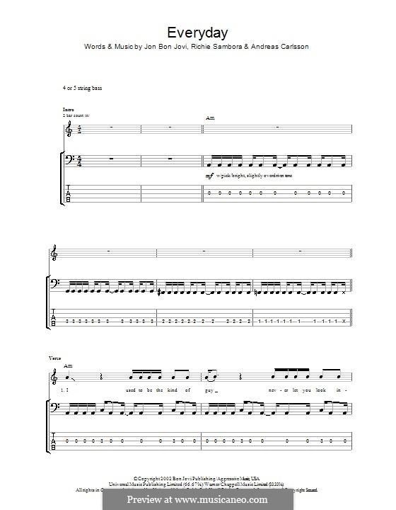 Everyday (Bon Jovi): For bass guitar with tab by Andreas Carlsson, Jon Bon Jovi, Richie Sambora