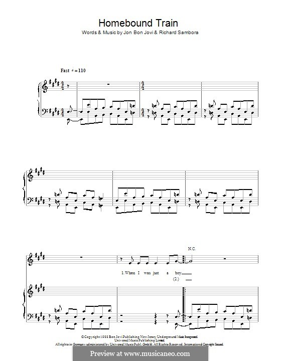 Homebound Train (Bon Jovi): For voice and piano (or guitar) by Jon Bon Jovi, Richie Sambora