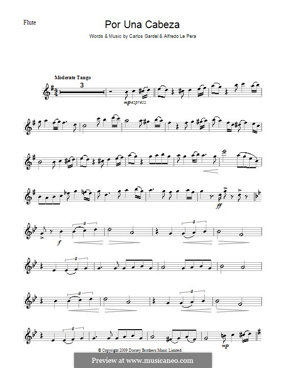 Por Una Cabeza: For flute by Carlos Gardel