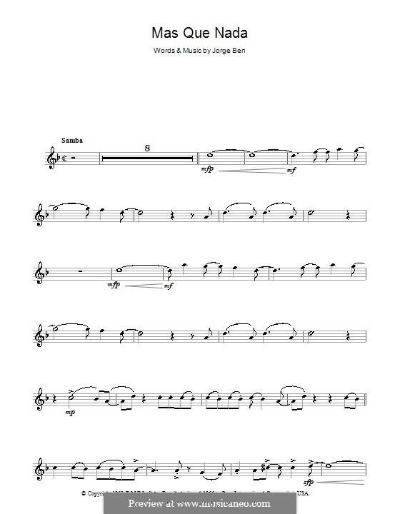 Mas Que Nada (Say No More): For alto saxophone (Sergio Mendes) by Jorge Ben