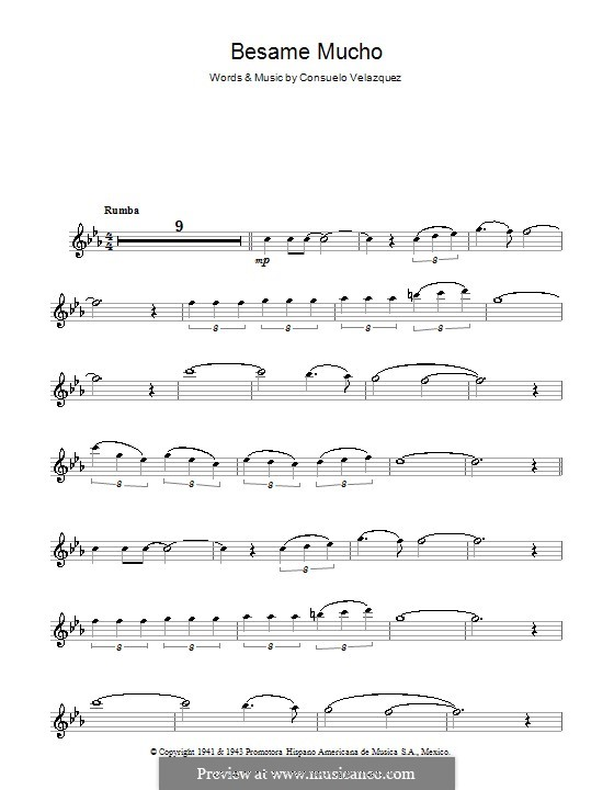 Besame Mucho (Kiss Me Much): For flute by Consuelo Velazquez