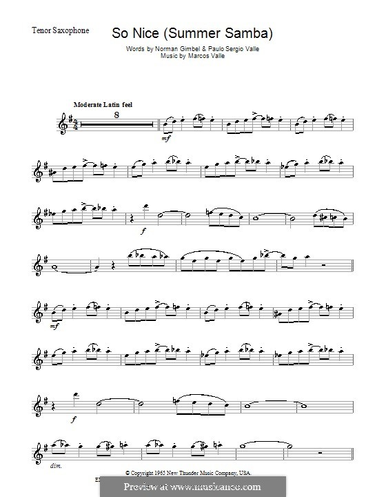 So Nice (Summer Samba): For tenor saxophone by Marcos Valle, Paulo Sergio Valle