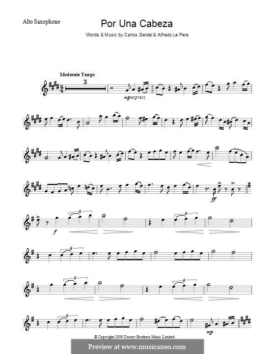 Por Una Cabeza: For alto saxophone by Carlos Gardel