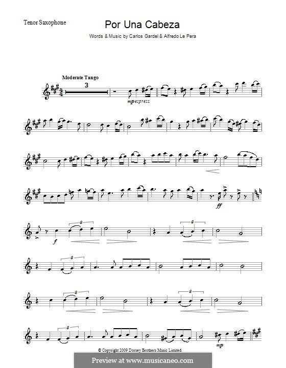 Por Una Cabeza: For tenor saxophone by Carlos Gardel