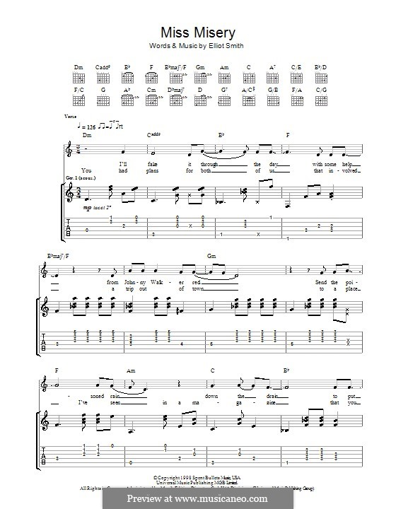 Miss Misery: For guitar with tab by Elliott Smith