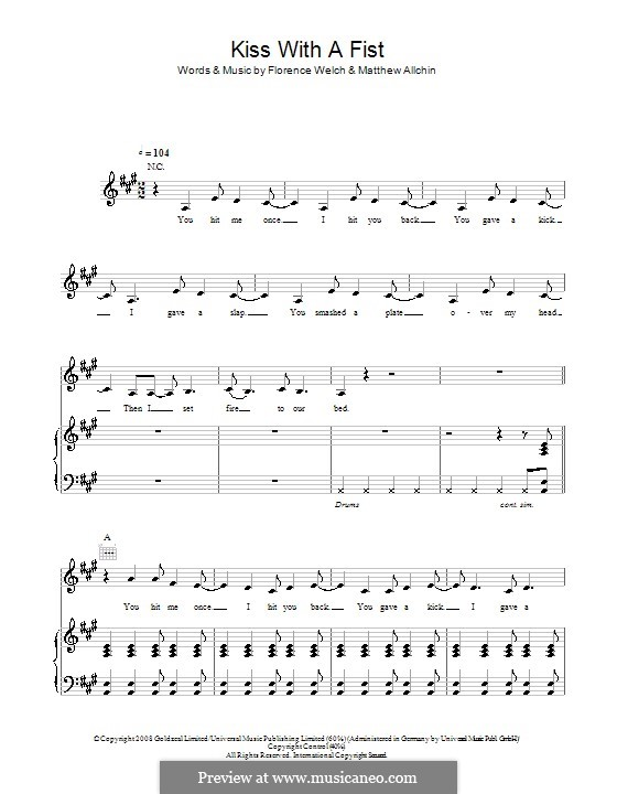 Kiss with a Fist (Florence and The Machine): For voice and piano (or guitar) by Florence Welch, Matthew Allchin