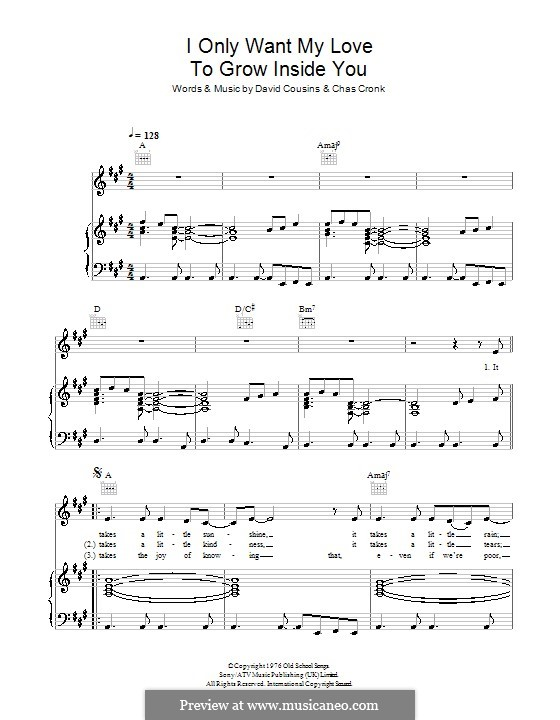 I Only Want My Love to Grow in You (The Strawbs): For voice and piano (or guitar) by Chas Cronk, David Cousins