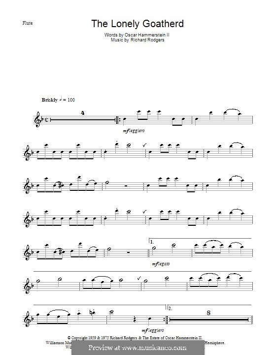The Lonely Goatherd (from The Sound of Music): For flute and piano – solo part by Richard Rodgers