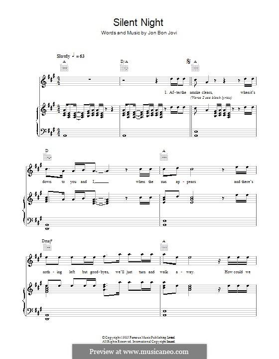 Silent Night (Bon Jovi): For voice and piano (or guitar) by Jon Bon Jovi