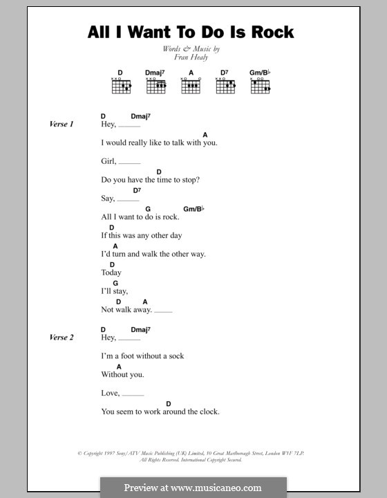 All I Want to do Is Rock (Travis): Lyrics and chords by Fran Healy