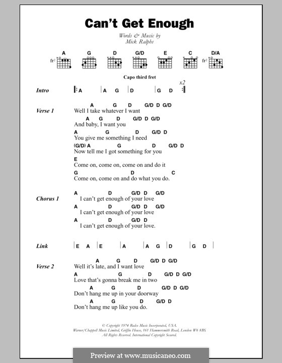 Can't Get Enough (Bad Company): Lyrics and chords by Mick Ralphs