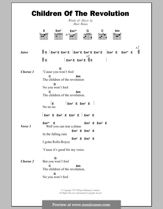 Children of the Revolution (T Rex): Lyrics and chords by Marc Bolan