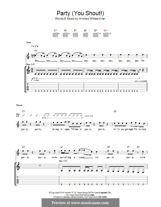 We Party (You Shout): For guitar with tab by Andrew Wilkes Krier