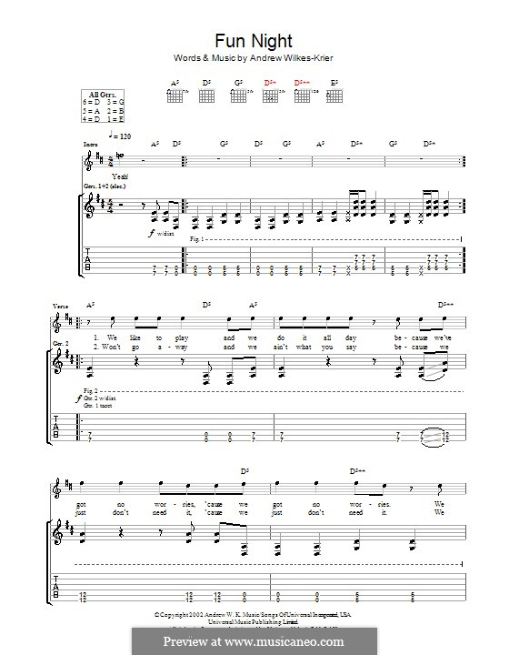 Fun Night: For guitar with tab by Andrew Wilkes Krier